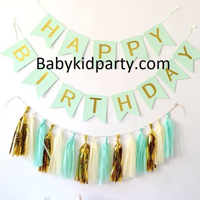 Happy Birthday Mint Green Flag Banner with Paper Tassels package