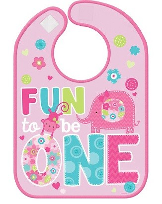 Wild at One Girl's 1st Birthday Bib