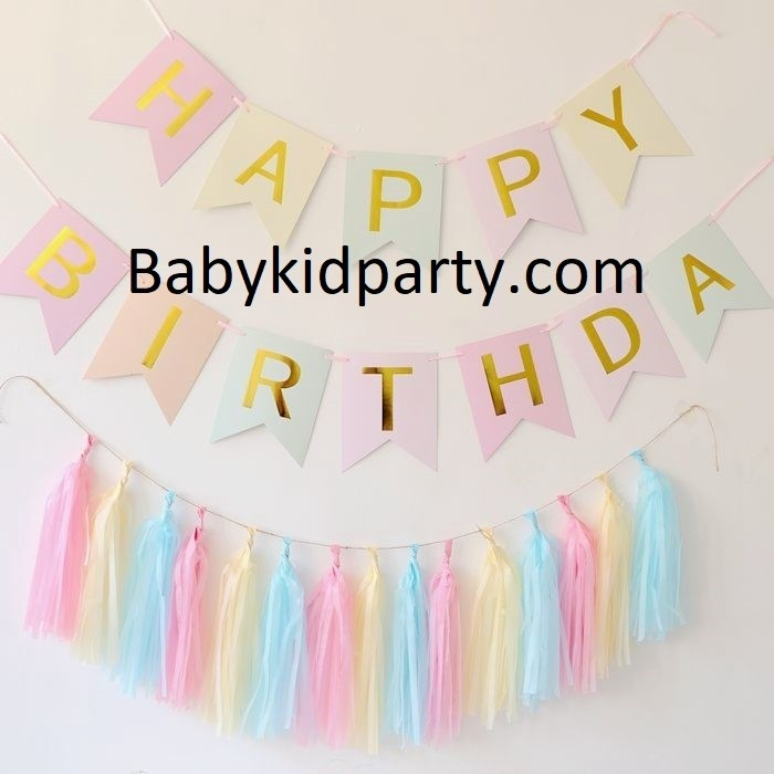 Happy Birthday 3 Colour Flag Banner with Paper Tassels package