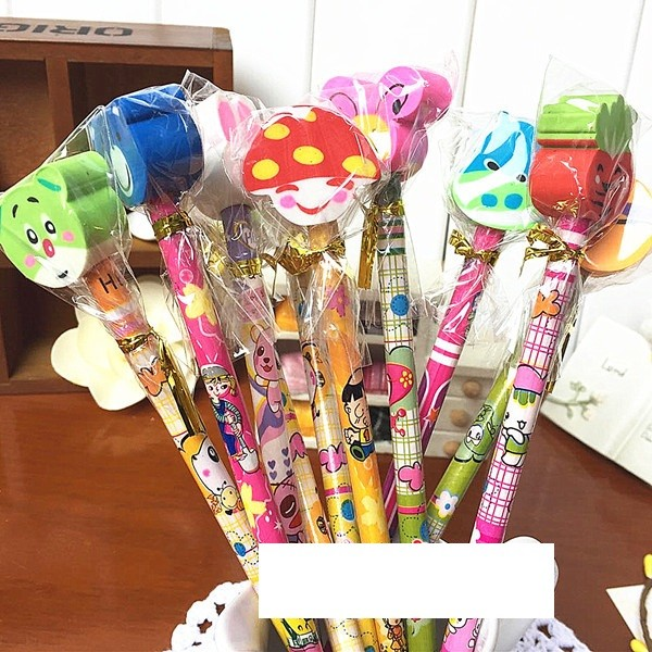 Pencil with cute eraser 6pcs per pack