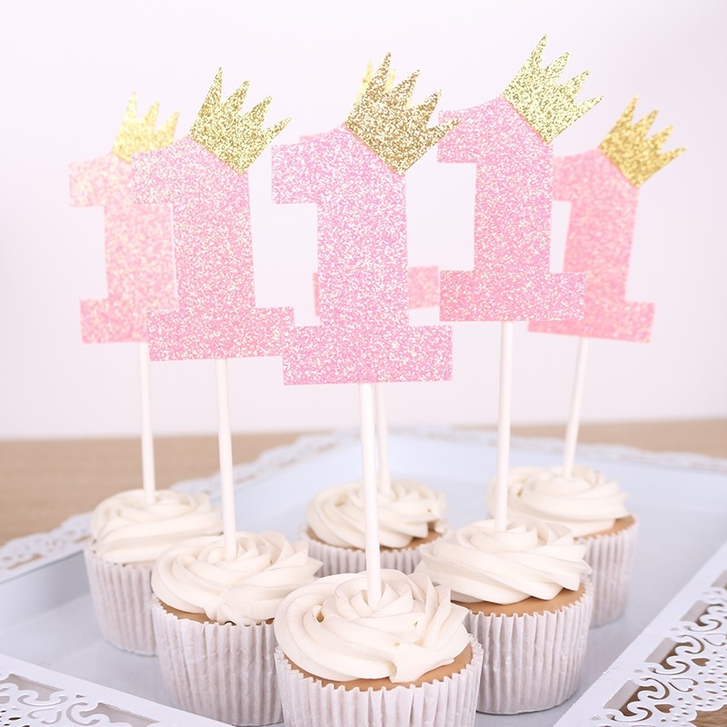Pink 1st Birthday Shimmering Cupcake Pick Deco