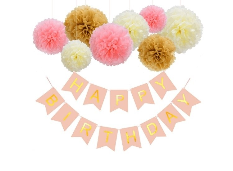 Happy Birthday Pink Flag Banner with Fluffy Ball Decorations package