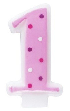Number 1 Pink Polka Dot Candle