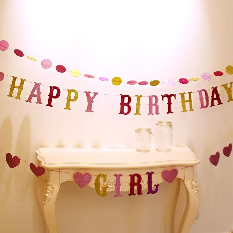 EVA Pink Glittering Happy Birthday Banner