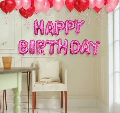 "16"" HAPPY BIRTHDAY Pink Wording Foil Balloons"