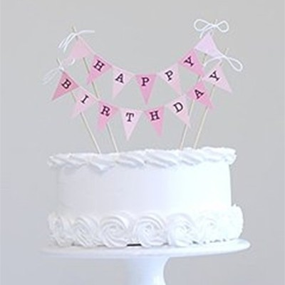 Pink Happy Birthday Cake Banner