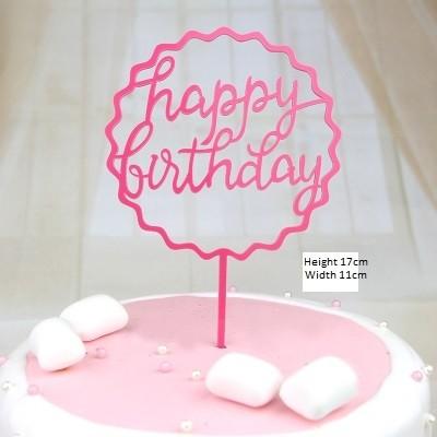 Happy Birthday Pink Round Cake Decoration