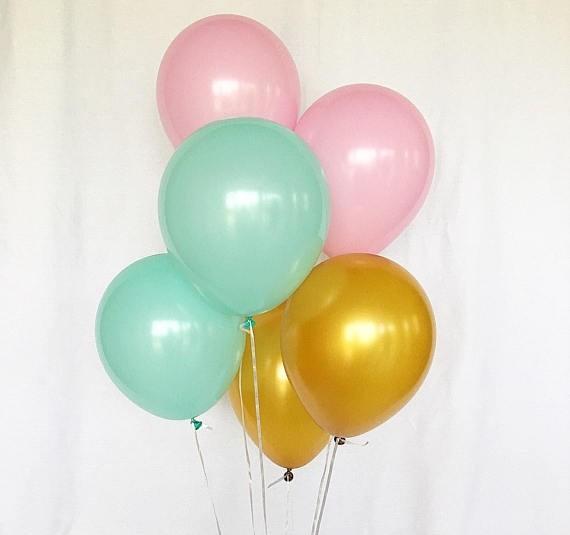 "12"" Pale Pink, Tiffany Blue & Gold Latex Balloons 6pcs per pack"
