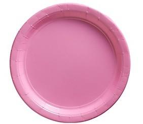 Pink Paper Dessert Plates 25pcs