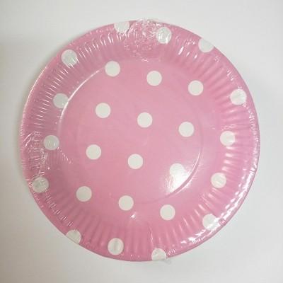 Polka Dot Pink Paper Dessert Plates 20pcs