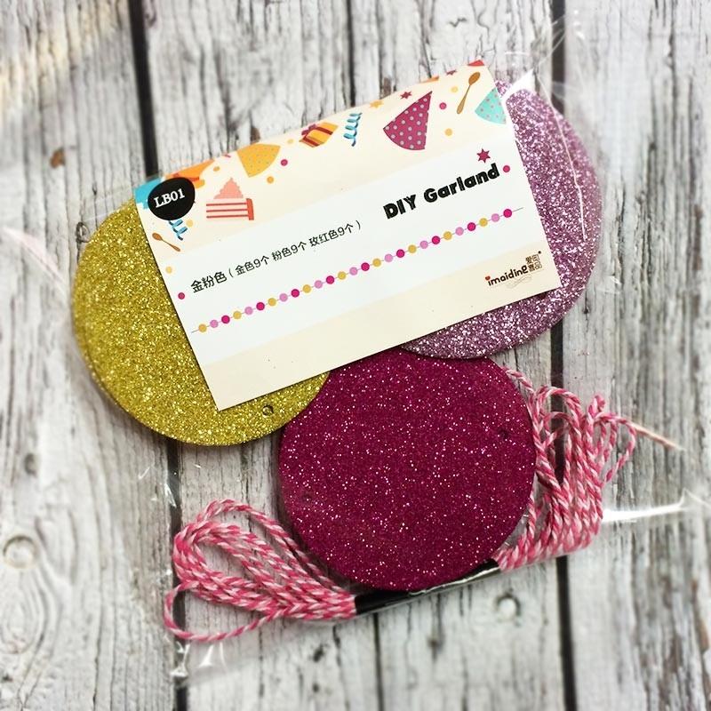 EVA pink glittering round garland
