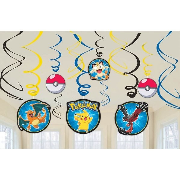 Pokemon Hanging Foil Swirls Decorations 12pcs