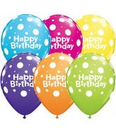 "11"" Qualatex Round Happy Birthday Candy-Polka-Dot Assortment"