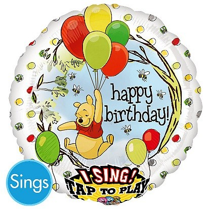 28in Winnie the Pooh Happy Birthday Singing Balloon