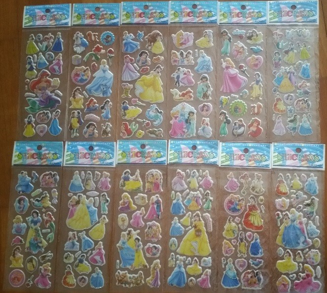 Princess Bubble Stickers, 6 sheets