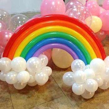 Rainbow with cloud Latex Balloons