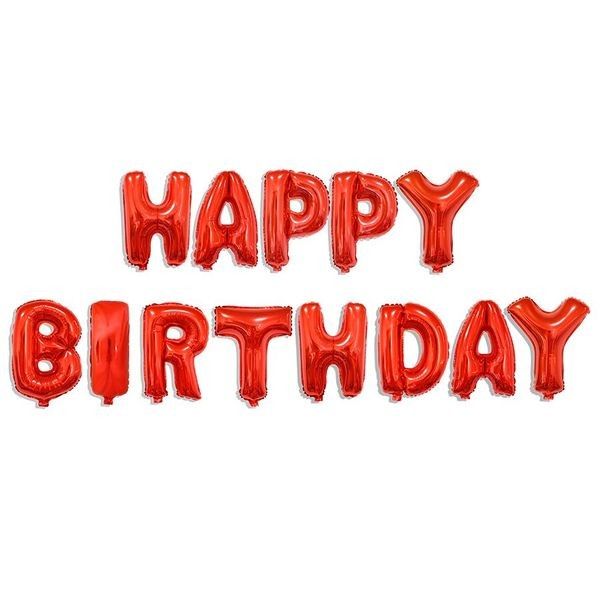 "16"" HAPPY BIRTHDAY Red Wording Foil Balloons"