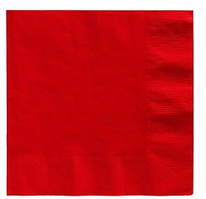 Red Beverage Napkins 25pcs