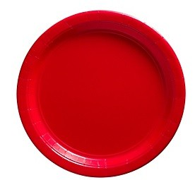 Red Paper Dessert Plates 50pcs