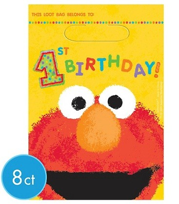 Sesame 1st Birthday Favor Bags 8pcs
