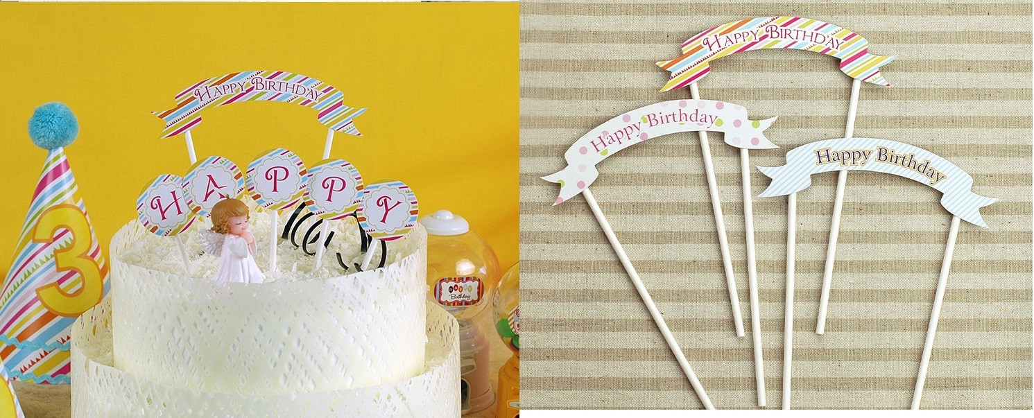 Coloured Striped Happy Birthday Small Pick Banner for Cake