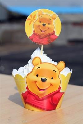 Winnie Pooh Cupcake skirting and cupcake pics Set 12pcs