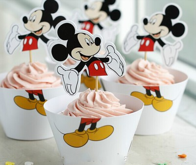Mickey Cupcake skirting and cupcake pics Set 12pcs