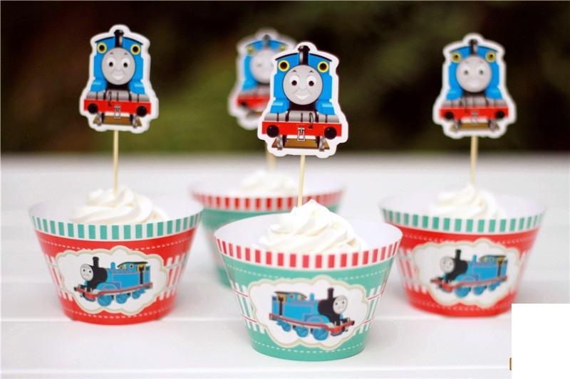 Thomas Train cupcake skirting and cupcake pics Set 12pcs