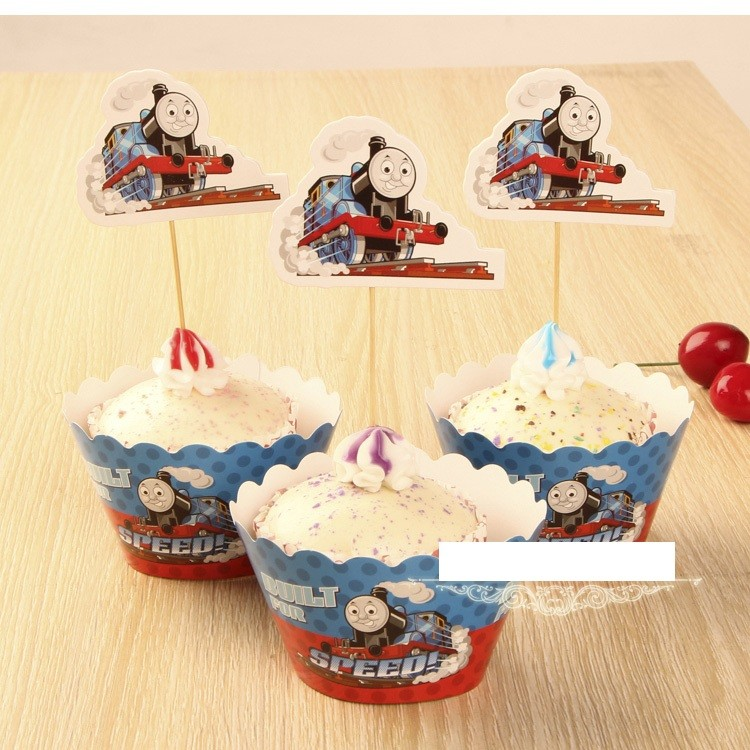 Thomas Train cupcake skirting and cupcake pics Set 12pcs