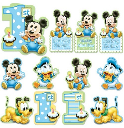 Baby Mickey Mouse 1st Birthday.Mickey Mouse 1st Birthday Cutouts 12pc Baby Mickey 1st
