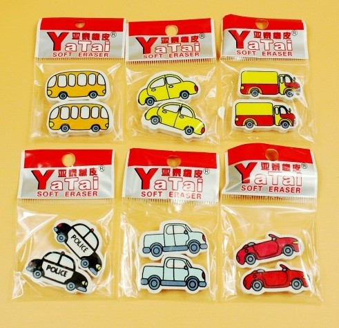 Vehicles Eraser 12 pcs per pack