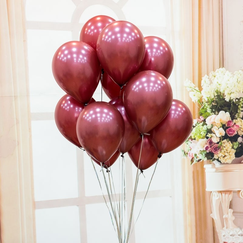 12in Pearl Wine Red Latex Balloons