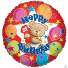18in Bear 1st Birthday Balloon