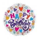 "18"" Happy Birthday White Swirls and Hearts Foil Balloon"
