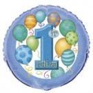 18in Blue Balloon 1st Birthday Foil Balloon