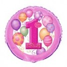 18in Pink Balloon 1st Birthday Foil Balloon