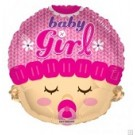 "18"" Baby Girl Head Shape Mylar Balloon"