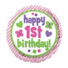 "18"" Happy 1st Birthday Pink Foil Balloon"