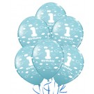 "12"" 1st Birthday Printed Allround Blue Latex Balloons 5pcs"