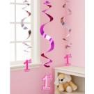 1st Birthday Girl Hanging Swirl Decorations