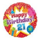 "18"" Happy Birthday Icons 21 Balloon"