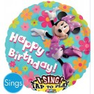 28in Sing-A-Tune Minnie Mouse Clubhouse Happy Birthday Balloon