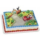 Mickey Mouse & Pluto in red car, ClubHouse Birthday Party Cake Decoration Topper Set