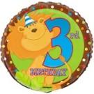 18in Animal 3rd Birthday Foil Balloon