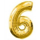 "40"" Gold Number 6 Foil Balloon"