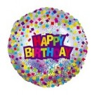 "9"" Airfill Happy Birthday Confetti Foil Balloon"