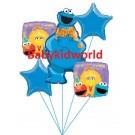 Cookie Monster 1st Birthday Balloon Bouquet