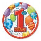 "1st Birthday Balloons 7"" Plates"