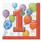 1st Birthday Balloons Beverage Napkins