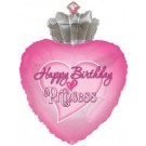Happy Birthday Princess Heart Balloon